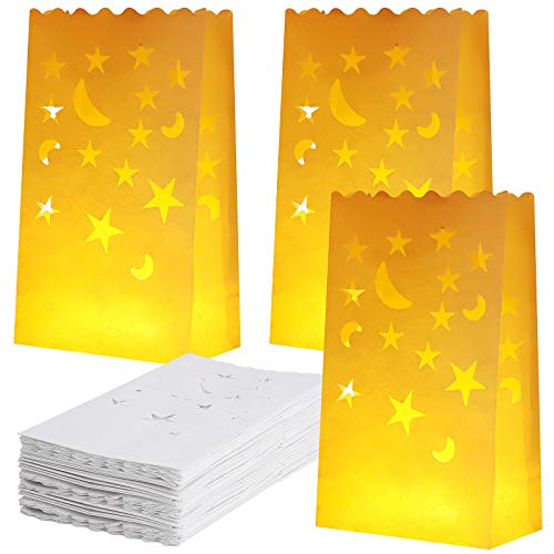 Aneco 48 Pieces Luminary Bags with Stars and Moon Design Flame Resistant Candle Bags White Paper Lantern Bags Tealight Holders Luminary Bags for Christmas, Wedding, Reception, Party Decoration