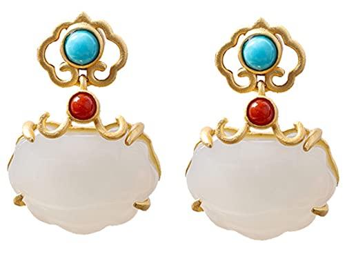 CHXISHOP Pendientes de Moda de la Vendimia de la Vendimia 925 Sterling Silver Gold-Chapado Hetian Jade Ofertas para niñas y Damas