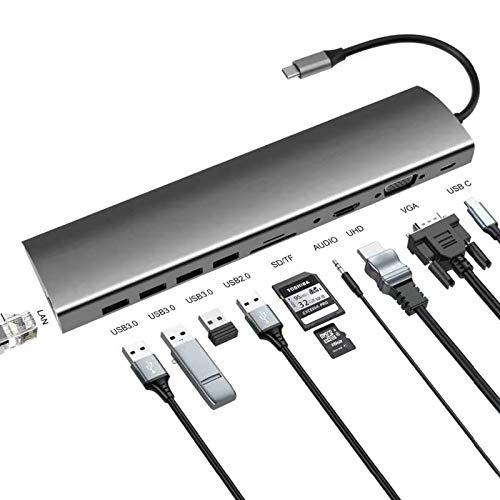 MWQCEW Duradero USB Tipo C HUB con HDMI RJ45 PD Carga SD CARDADOR DE Tarjeta USB-C HUB Tips-C PULSULSE for MACBOOK Pro Accesorios PORTÁTILES Multi HUB Adaptador de Corriente (Color : 1911)