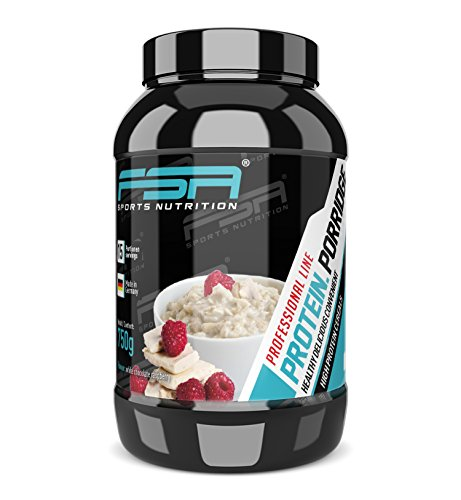 Protein Porridge mit glutenfreien Haferflocken und Proteinpulver, Hergestellt in Deutschland, FSA Nutrition - 750 g - Weiße Schokolade Himbeere