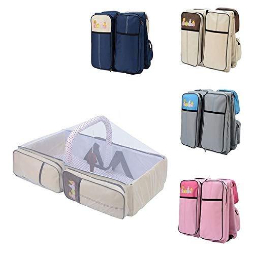 Ad Fresh 2 in 1 Convertible Portable Crib Travel Bassinet Foldable Outdoor Infant Bed Bear Dolls Baby Diaper Bag with Mosquito Net (Multicolour)