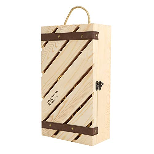 Caja de regalo de madera retro para vino, caja de vino tinto con barra inclinada de madera con mango para 2 botellas de vino