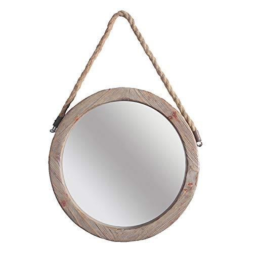 DH JINGZI - Specchio per Il Trucco Specchio Appeso a Parete Corda Canapa retrò Vecchio ruggine Traccia Bagno Bar in Stile Country Americano Solido Legno Durevole