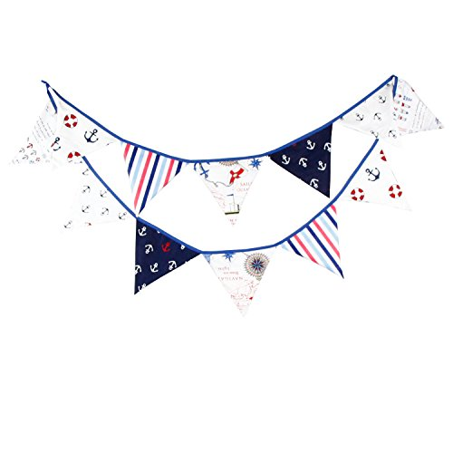 dreammadestudio Nautical Happy Birthday Party Pennant Double Sided Anchor Pattern Hanging Bunting Flag Wedding Baby Shower Party Garland Decoration