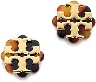 Tory Burch Logo Flower Resin Stud Earring - Tortoise/Gold 8846 or 5006