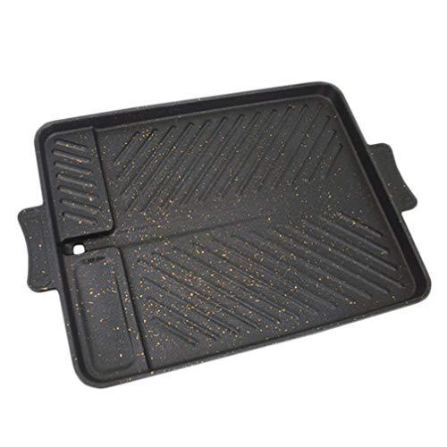 Hemoton Bbq Grill Pan Non-Stick Aluminium Rechthoekige Barbecue Plaat Koekenpan Bakvormen Voor Keuken Thuis Gebruiksvoorwerp
