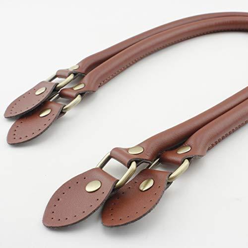 Asas de piel sintética y cuero auténtico, color marrón, 58 cm, con accesorios de bronce, asas de bolso, bolso para hacer bolsos, coser en bolsa, reemplazo de mango, un par (2 piezas) por lote K4