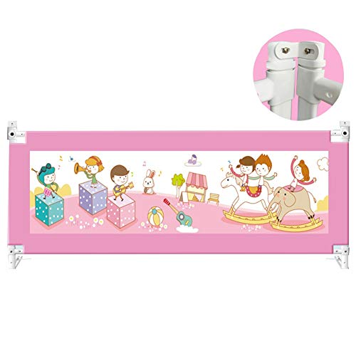 WCBIN Toddler Tall Bed Rail Guard Protection Baby Bed Fence Extra Long Fence Safety Height Adjustable, Queen Bed Protection (Color : Pink, Size : 220cm)