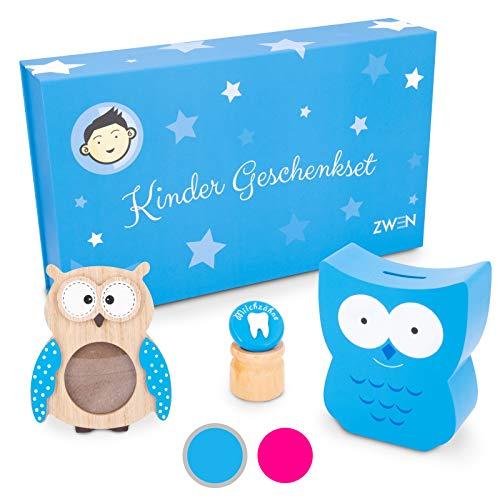 ZWEN Kinder Geschenkset für Mädchen & Jungen (groß) I Baby Erinnerungs-Box als Geschenk zur Geburt, Taufe, Kommunion I Taufgeschenk mit Spardose, Zahndose & Bilderrahmen Eule aus Holz (Blau/Jungen)