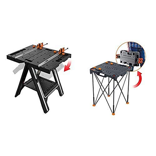WORX Pegasus Multi-Function Work Table and Sawhorse with Quick Clamps and Holding Pegs – WX051 with Sidekick Portable Work Table