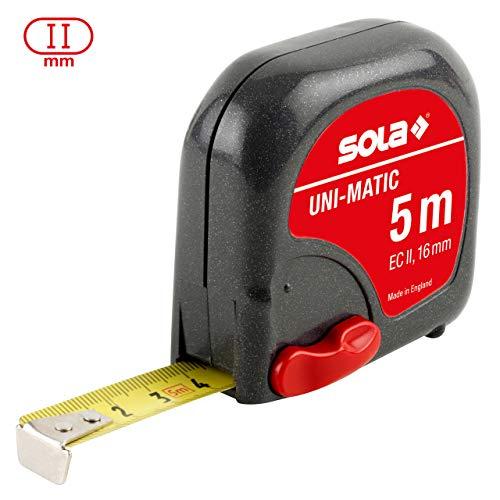 SOLA Bandmaß - UNI-MATIC - 5m / 16mm - Taschenbandmaß mit Gürtelclip - Stahlband, gelb lackiert mit mm Skala - Genauigkeitsklasse II - Rollmeter mit beweglichem Endhaken - Metermaß Länge - 5m/16mm