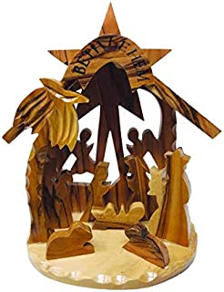 Logos Trading Post Holy Land Olive Wood Nativity Scene, Christmas Ornament, 3D Grotto, Made in Bethlehem - Large
