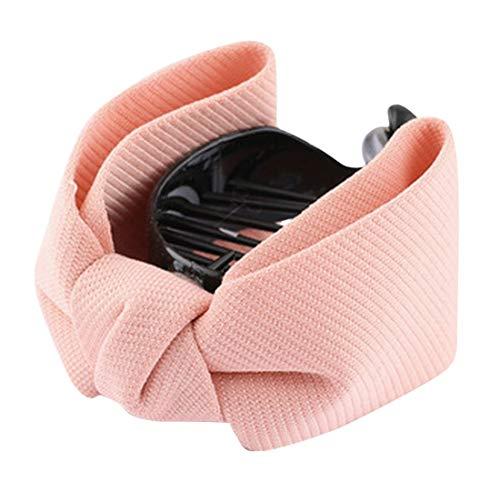 Plus Nao(プラスナオ) ヘアクリップ テールクリップ 髪飾り 髪留め ヘアアクセサリー レディース リボン ヘアアレンジ まとめ髪 シンプル - ピンク