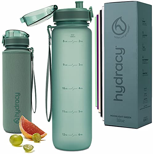 Hydracy Water Bottle with Time Marker - Large 1 Liter BPA Free Water Bottle - Leak Proof & No Sweat Gym Bottle with Fruit Infuser Strainer for Fitness or Sport & Outdoors - Moonlight Green