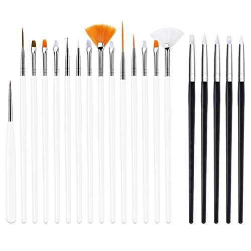 Minkissy Nail Art Brushes Set 20Pcs Nail Art Stylos Kit Nail Dotting Pen Liner Striping Brush for Salon Home White