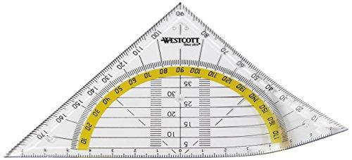 Westcott E-10132 BP-I Geometriedreieck aus Kunststoff, bruchsicher, 20-er Packung, 14 cm, transparent
