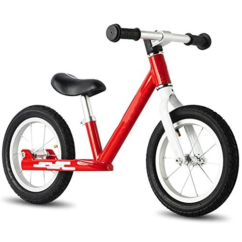 Wushu Marco De Aleación De Aluminio Bicicleta De Equilibrio First Bike para Niños de 2 A 7 Años Bici para Aprender A Mantener El Equilibrio(Color:Rojo)
