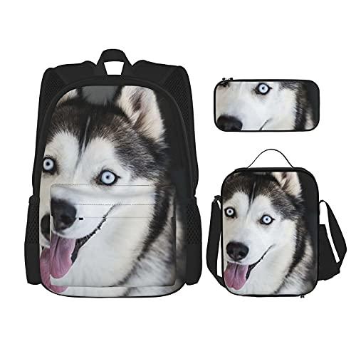Sled Dog Rucksack Sibirischer Husky Alaskan 3-teiliges Set, modische Reise, Büchertasche, Lunch-Tasche, Federmäppchen