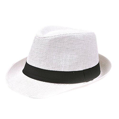 Dosige Schirmmütze Sonnenschutz Hut Hüte Strohhut Sonnenhut Jazz Hut Strandhut Sommerhut Panamahut Damen Herren 1pcs (Weiß)