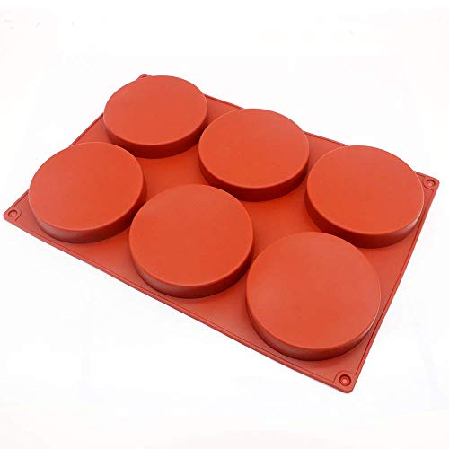 6-Cavity Large Cake Molds Silicone Round Disc Resin Coaster Mold Non-Stick Baking Molds, Mousse Cake Pan, French Dessert, Candy, Soap (Red)