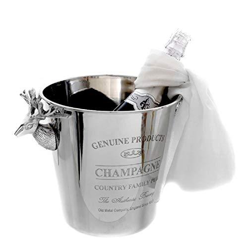 Dio klassischer eleganter Champagnerkühler Sektkühler Flaschenkühler rund Edelstahl poliert mit Hirschköpfen