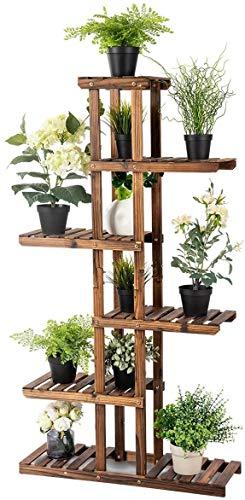 Happygrill Plant Stand Flower Rack Wooden 7 Tier Shelves Bonsai Display Shelf Stand for Indoor Outdoor Yard Garden Patio