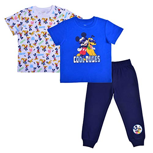 Disney Mickey Mouse Boy's 3-Piece Cool Dudes T-Shirt and Jogger Pant Set, Blue, Size 4T
