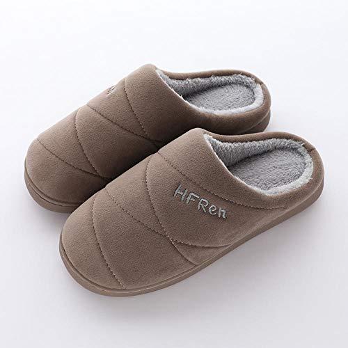 Zapatillas de Interior de Talla Grande para Mujer, cálidas y Suaves, de Felpa, Zapatos de Suelo para el hogar, Zapatillas de Suelo Antideslizantes-Coffee_12.5
