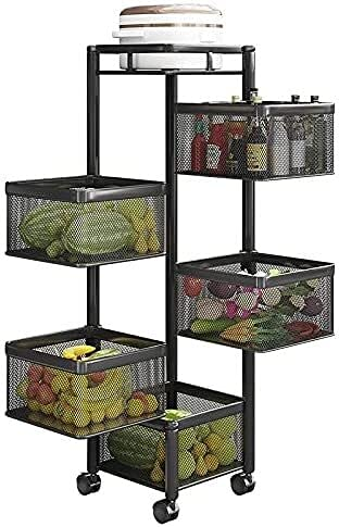 Chilequano Estantería de vegetales giratorios, estante de cocina de múltiples capas de 5 capas Estantes de cocina de 5 capas Cocina Verduras y frutas Sala de estar Sundries Snacks Storage Rack