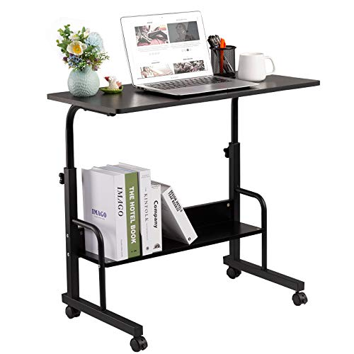 GAJOO Mobile Side Table, Mobile Laptop Desk Cart 31.49 Inches Tray Table Adjustable Sofa Side Bed Table Portable Desk with Wheels Student Laptop Desk (Black)