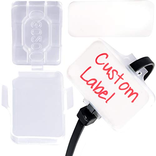 Heavy Duty Zip Tie Labels for Cables and Cords, 50Pk. Durable, Protective Box Attaches to Zip Ties for Easy Cord and Cable Organization. Best Reusable Wire Management Ties. Includes Easy Write Inserts