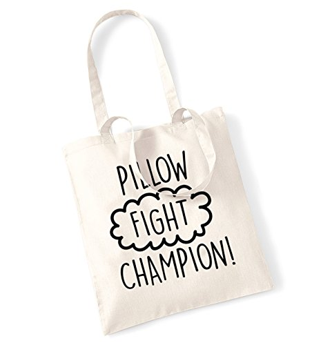 Pillow fight champion tote bag
