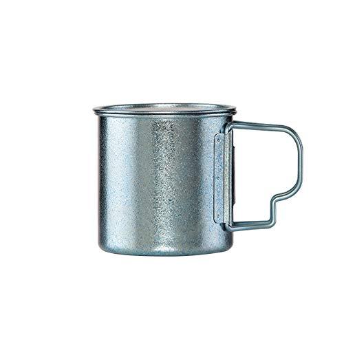 Taza de café de titanio puro con tapa y asa plegable, taza