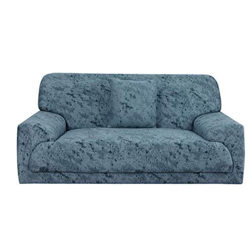 N/D Funda de sofá extensible antiarrugas, 1 pieza para muebles, sofá protector para perro de compañía, con una funda de cojín gratis, sofá 3 plazas, color azul pizarra.