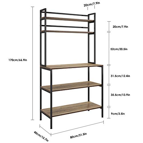 HOMECHO Kitchen Bakers Rack with Hutch, 5-Tier Microwave Oven Stand, Industrial Tall Storage Shelf, Utility Storage Rack for Home Office, Easy Assembly, Rustic Brown