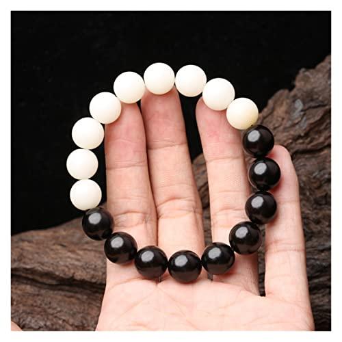 COKILU Black And White Jewelry Ebony Bodhi Root Bodhi Unisex Yin And Yang Bracelet Lucky Charm Protection Amulet Ward Off Evil Spirits Money Drawing Wealth Fortune