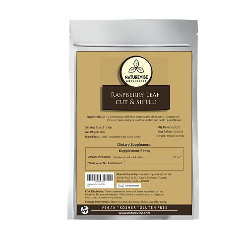 Naturevibe Botanicals Organic Raspberry Leaf cut & sifted, 1lb | USDA Certified Organic (16 ounces)