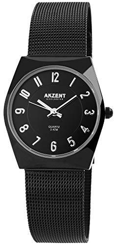 AKZENT Exclusive Damenuhr Schwarz Analog Quarz Metall Meshband Armbanduhr