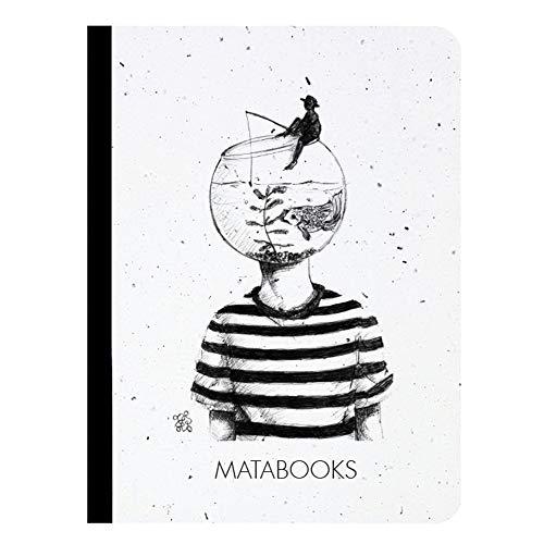 Matabooks, nachhaltige und vegane Notizbücher A6 aus Graspapier, Samenbuch, 108 blanko Seiten, Natur, Handmade, Made in Germany (Fishing for ideas)