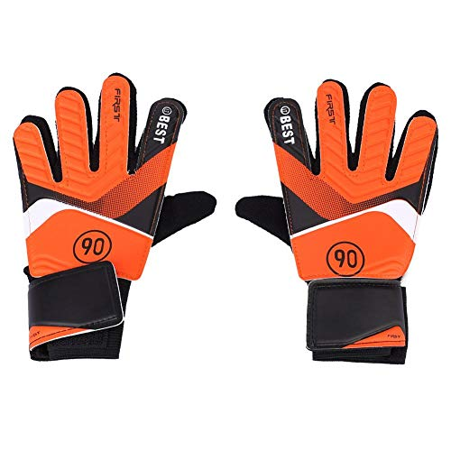 Dwawoo Football Kids Goalie Handschuhe, Jugend Goalie Finger Save Handschuhe Fußball Zubehör(S-Orange)