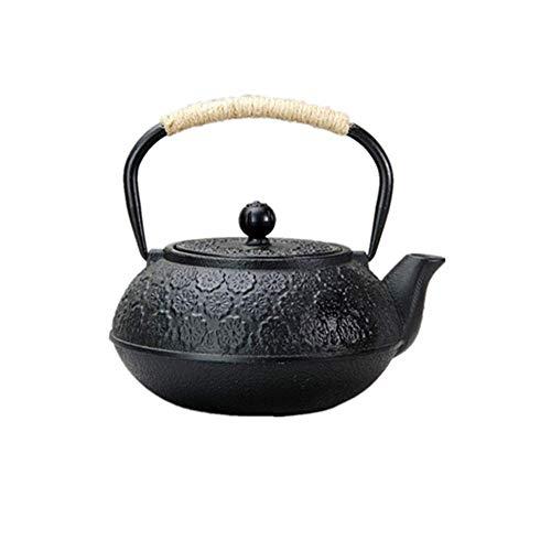 Hervidor de té de hierro fundido Tetera de hierro fundido con patrón de flor de cerezo tallado Hervidor saludable 1000 ml Teteras familiares para el té de la tarde (Color: Negro, Tamaño: 1000 ml)