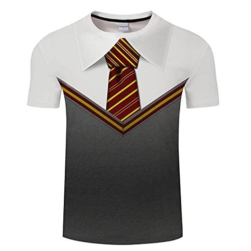 Owenqian Camisetas para Hombre,Traje Falso 3D, Esmoquin, pájaro, Camiseta Estampada 3D para Hombre, Moda de Verano de Manga Corta, Camiseta con Chaleco Hip Hop Streetwear
