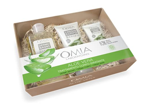 Omia - Beauty Box Corpo Aloe Vera, Confezione Regalo con Bagnoschiuma, Crema Corpo e Crema Mani, Ottimale per Pelle Mista e Grassa, Dematologicamente Testato