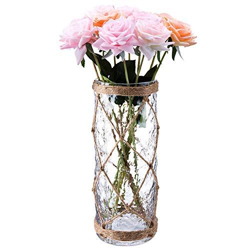 Diamond Star Rustic Glass Bottle Vase Decorative Blue Flower Vase with Creative Rope Net Large
