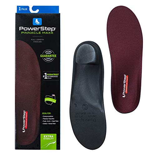 Powerstep Unisex's Pinnacle Maxx Orthotic Insole Shoe Inserts, Workout Gear for Home Workou, Maroon, Men's 5-5.5 / Women's 7-7.5