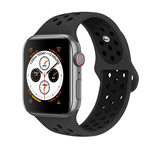 AdMaster Compatible with Apple Watch Bands 38mm 40mm,Soft Silicone Replacement Wristband Compatible with iWatch Series 1/2/3/4 - S/M Anthracite/Black