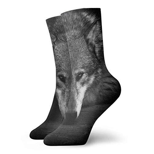 Drempad Calcetines de Vestir Unisex Retro Wolf Black Funny Polyester Crew Socks 11.8 Inch