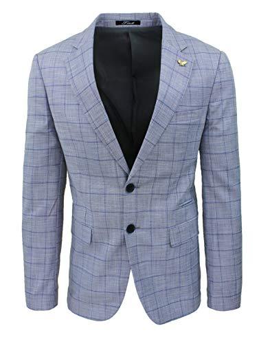 Evoga Chaqueta Blazer para hombre de sastre gris y azul, cuadros de príncipe de Gales Primaveral Gris - Azul XL