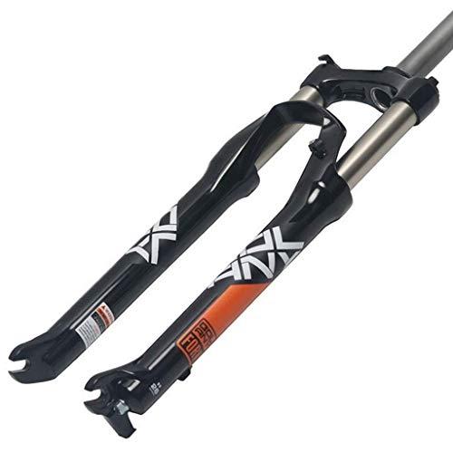 VTDOUQ 26 27,5 29 Pulgadas Horquilla de suspensión de Bicicleta de montaña Acero al Carbono Horquilla de Descenso Bicicleta de montaña Horquilla de Aire Carrera 100 mm Negro Blanco