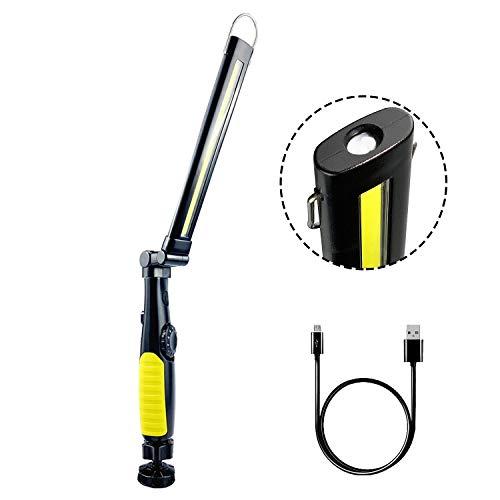 AuRiver Lampada da Lavoro COB Ricaricabile Portatile per 360 Gradi Pieghevole, Torcia Lampade di Ispezione LED con Magnetica Base e Gancio per Riparazione Auto, Campeggio e di Emergenza Uso (Verde)
